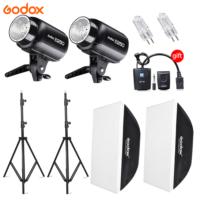 Godox 2x E250W Studio Flash Speedlite Lights E Series AC110/ 220V input Power Max 500WS with Lamp Bulb+Softbox +Light Stand