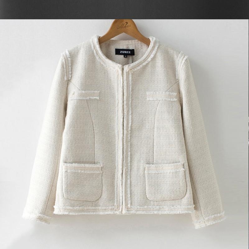 White tweed jacket Burr 2017 autumn / winter women's jacket ...