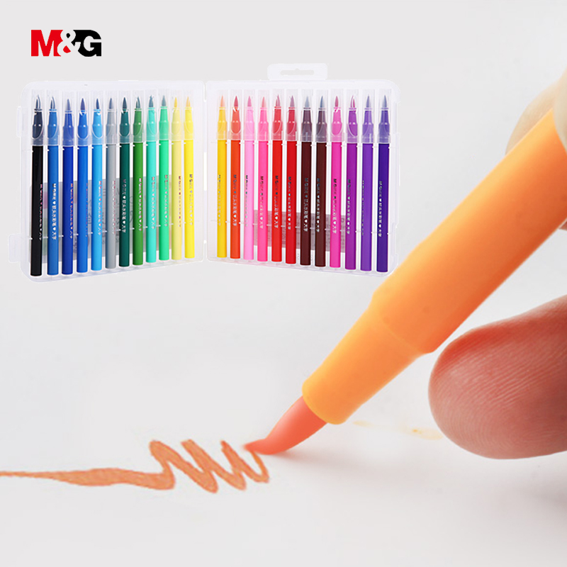 M&G Watercolor brush manga markers set for school drawing colored marker pens for sketch art design suppies liners gift for kid 36 colors set 0 4mm fine liner colored marker pens watercolor based art markers for manga anime sketch drawing pen art supplies