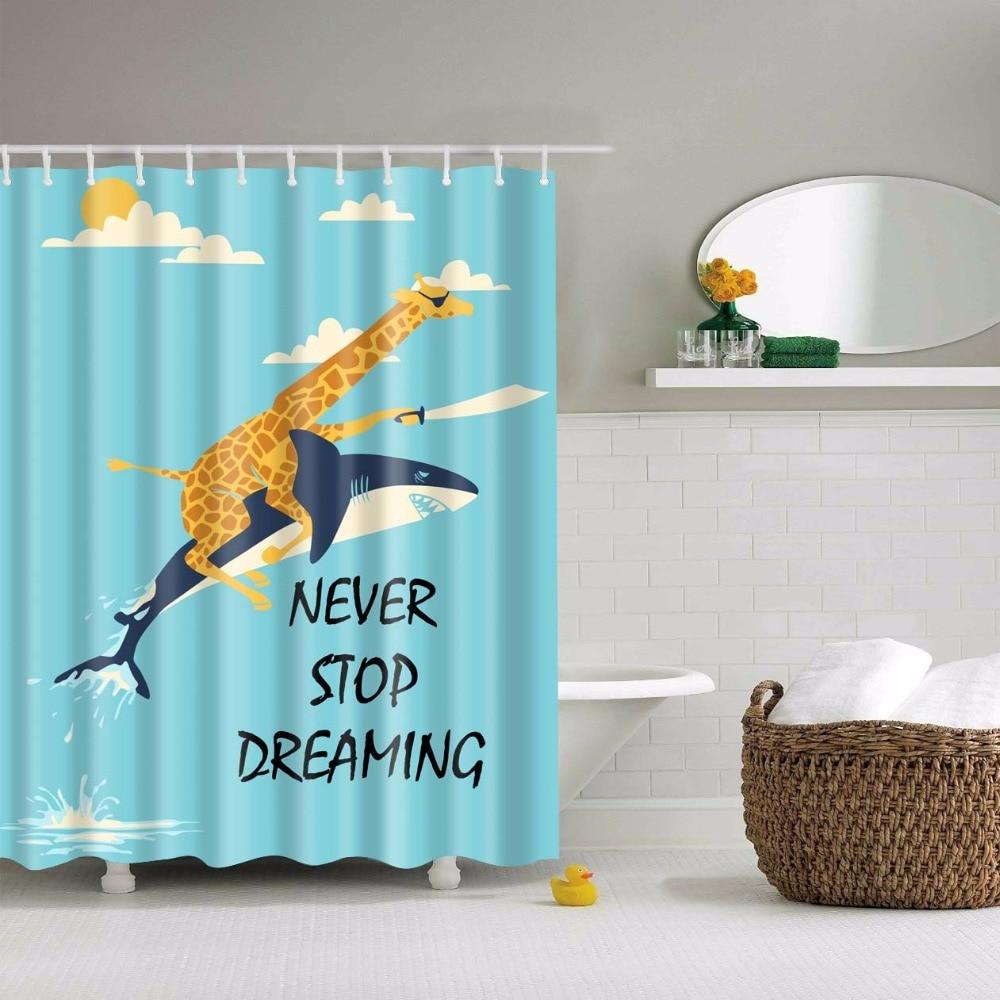 jungle giraffe ride shark shower curtain animals kids bathroom curtain set with hooks 71 x