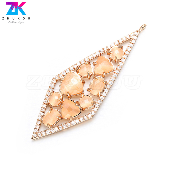 ZHUKOU 20x56mm DIY handmade Diamond Earrings Pendant Bracelets&Necklace Jewelry Accessories Necklace charms Jewelry Making VD385 3
