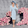 Vestido de festa 2016 Sky Blue Knee Length Mother of the Bride Dresses With Jacket Formal Party Dress Sheath Appliques Prom Gown