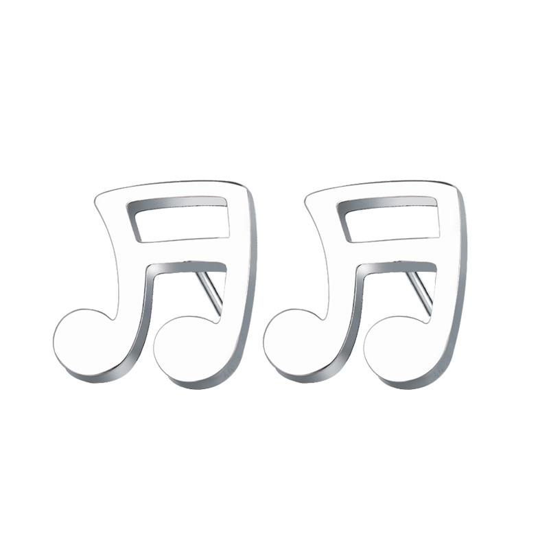 Cacana Stainless Steel Stud Earring Musical Notes Gold And Silver IMG_4520 (2)