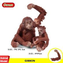 Oenux Original Genuine Wild Jungle Gibbon Monkey Simulation Animal Cute Monkey Action Figures Model Figurine Collection Toy Gift