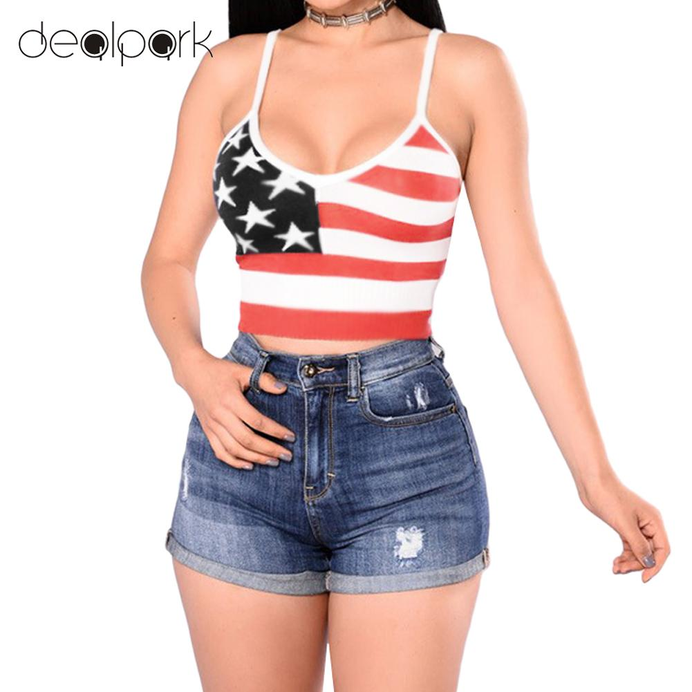 Women Summer Casual Camis   Tank     Top   American Flag Star Stripe Print Sleeveless New Sexy Bustier   Top   Red