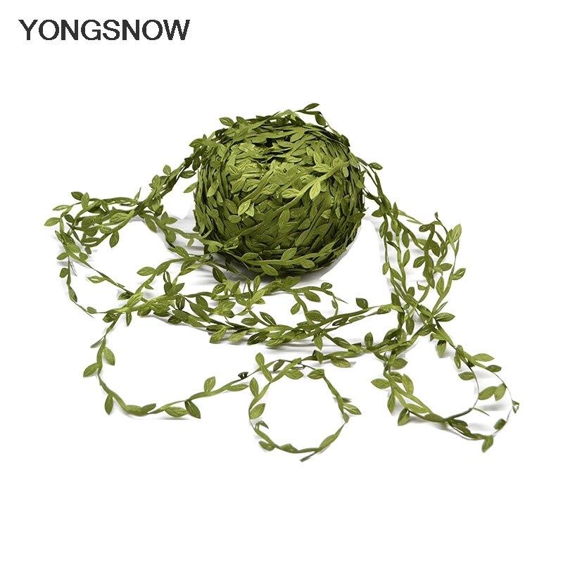 10m String Flowers Artificial Silk Leaves DIY Handmade Wreath Decorative Wedding Party Decor Scrapbooking Craft Fake Leaf Flower