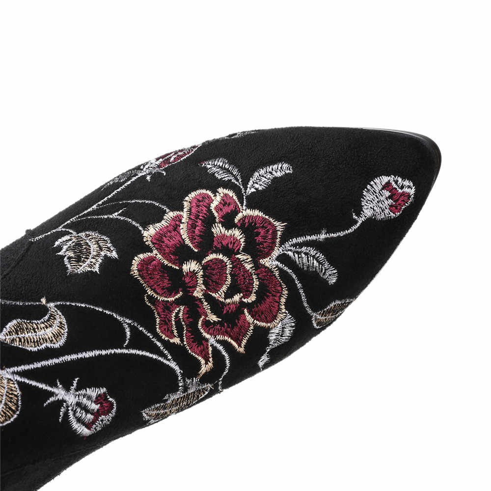 Asumer Thời Trang Mới Giày Bốt Nữ Gót Vuông Da Bò Màu Đen Da Lộn Nữ Giày Mũi Nhọn Dây Kéo Gót Vuông Trên Đầu Gối