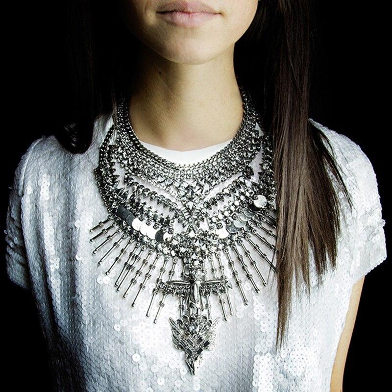 Ztech Classic Big Statement Metal Necklaces & Pendants for Women Collier Femme Bijoux Jewelry Choker Vintage Maxi Necklace