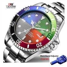 0d735de1446 Tevise Luxo Automático À Prova D  Água Homens Relógio Mecânico Auto Data de  Aço Completa