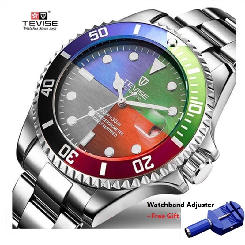 821bd7e4416 Tevise Luxo Automático À Prova D  Água Homens Relógio Mecânico Auto Data de  Aço Completa Negócios Top Homem Marca de Relógios Resistentes À Água T801  em ...