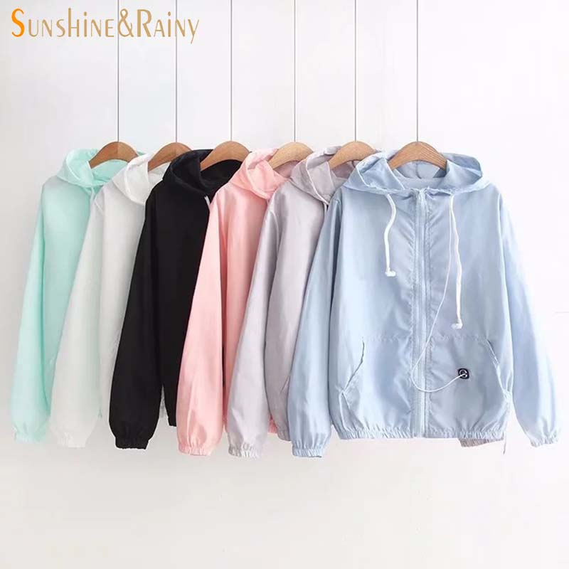 College of Women Style Simple Solid Color Hooded Earphone Thin Sunscreen Summer Coat New All-match Female Sweet Coat Jacket