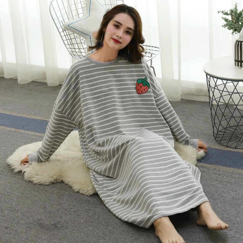 2019 Spring Autumn Women Nightdress Long Sleeve Nightshirt Plus Size Dress Loose Home Striped Nightgowns
