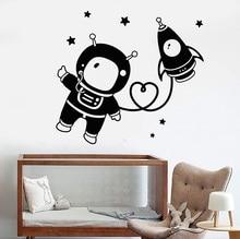 Vinyl Childrens Room Wall Sticker, Astronaut Space Star Rocket Kindergarten Classroom Decoration, Sticker ET41
