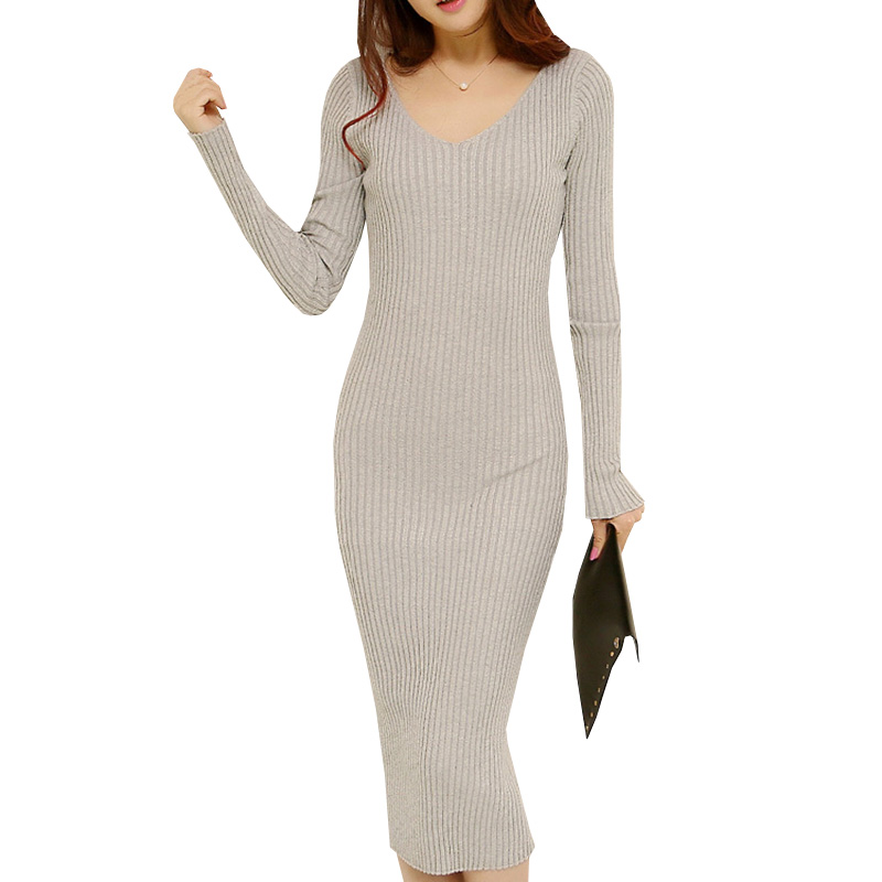 Autumn Winter Sweater Dress Women Thick Warm Sexy V-Neck Long Knitted Dress Long Sleeve Pullovers Bodycon Dresses Vestidos AB420 цена