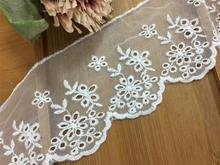 Exquisite embroidery mesh lace beige white cotton accessories 9cm wide
