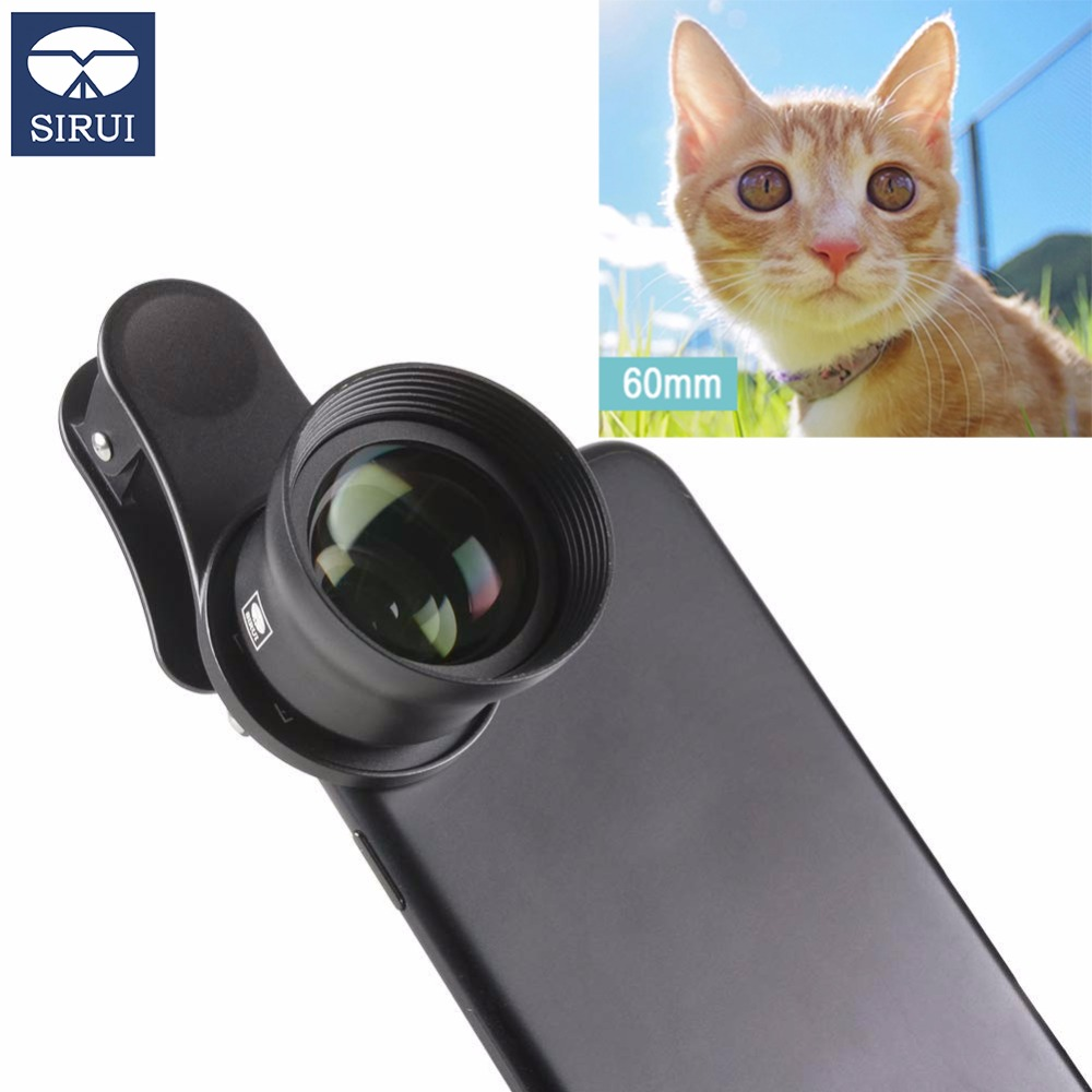 Sirui 60mm Telephoto Portrait Phone Lens 18MM Wide Angle HD 4K Mobile Lens for iPhone XS