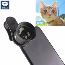 Sirui 60mm Telephoto Portrait Phone Lens 18MM Wide Angle HD 4K Mobile Lens for iPhone XS X 7 plus Huawei P20 Samsung S9 S8