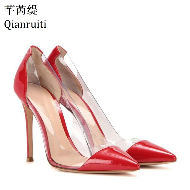 e292d7fe4ee Qianruiti Nude Gold Red Patent Leather Women Pumps Plexiglass Clear PVC  High Heels Shoes Pointed Toe Stiletto Heels Party Shoes