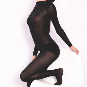 Image 2 - Plus Size Ice Silk Transparent Bodystocking Sexy Hot Erotic Lingerie One Piece Zip Open Crotch Bodysuit Teddies Catsuit Overalls