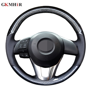 GKMHiR DIY черный кожаный чехол рулевого колеса автомобиля из углеродного волокна для Mazda, CX5, Atenza 2014, новый Mazda 3, CX-5 2016