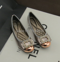 Free shipping 2015 new fashion metal head sparkling diamond square buckle knot round head flat shoes big yards for women's shoes