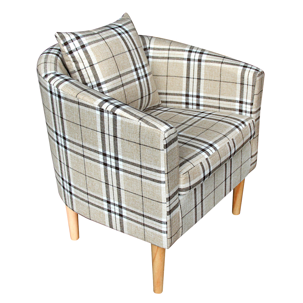Plaid Tartan Crushed Velvet Tub Chair Armchair Dining Living Room Office Dropshipping