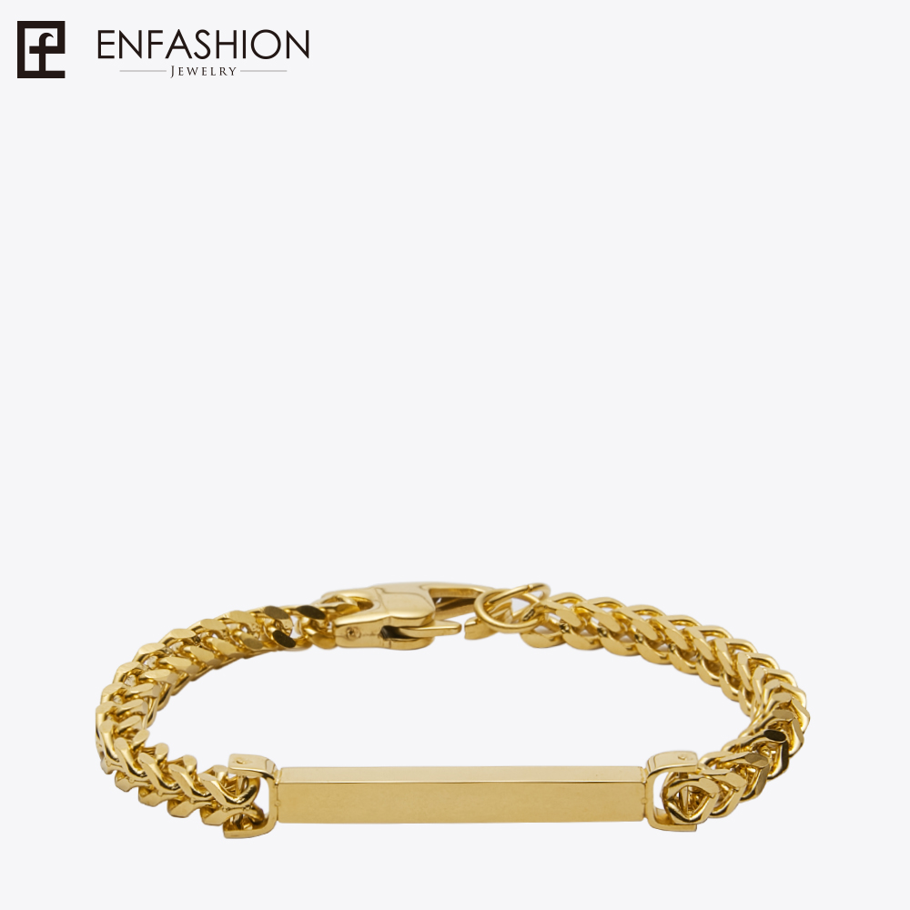 Enfashion Personalized Custom Engrave Name Bracelet Stainless steel Flat Bar Cuff Bracelet Gold Color Charm Bracelets For Women duoying 40 4 mm bar bracelets rope custom name bracelet personalize string bracelet friendship family bracelets jewelry for etsy