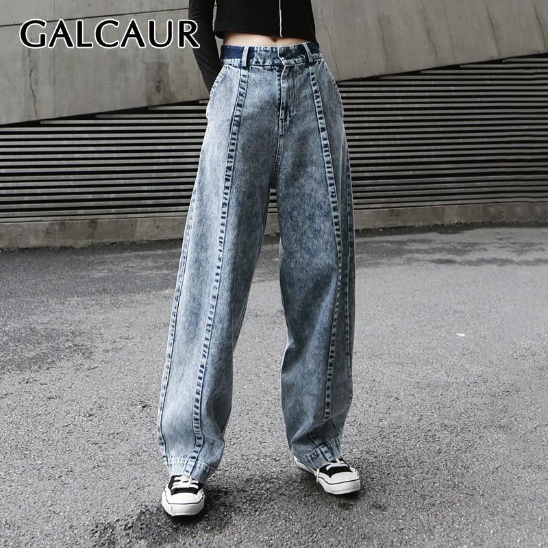 GALCAUR pantalones de pierna ancha sueltos coreanos para mujeres de cintura alta pantalones largos de mezclilla de gran tamaño ropa femenina de moda 2019 verano nuevo-in Pantalones y pantalones pirata from Ropa de mujer    1