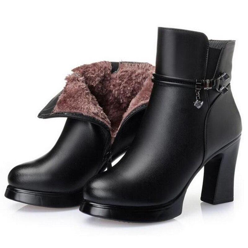 ZXRYXGS di marca stivali di lana caldo del cuoio genuino di scarpe da donna stivali da neve 2019 Nuovo inverno della caviglia stivali moda scarpe col tacco alto stivali-in Stivaletti da Scarpe su  Gruppo 2