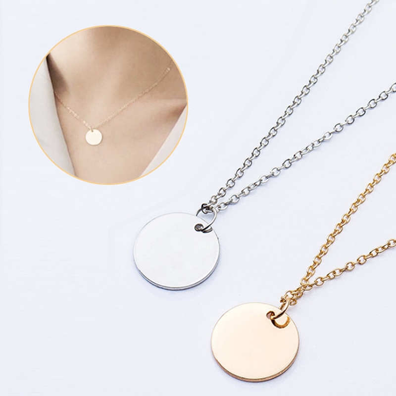 Qevila Choker Necklace Women Punk Silver Gold Color Coin Necklace Dainty Disc Pendant Necklace Minimalist Gold Coin Layering (1)
