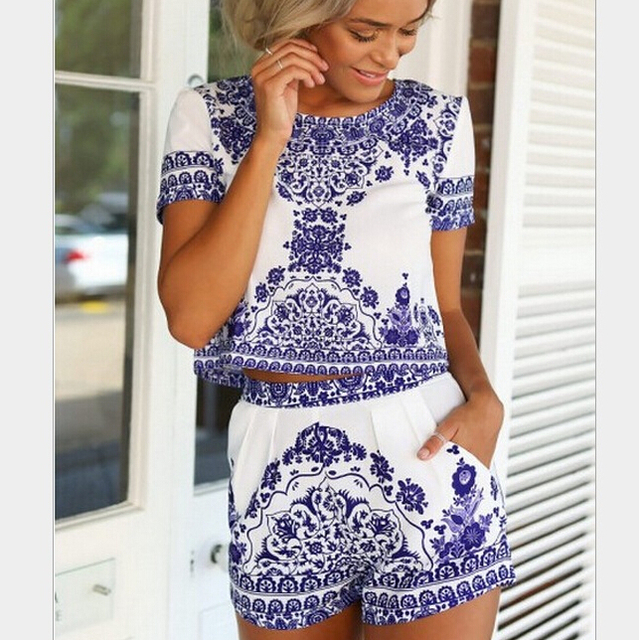 Classy Festival Summer Beach White Blue Porcelain flower Print Dress Hippie Boho Chic Two Piece Sets Clothing Outfits  CSS101