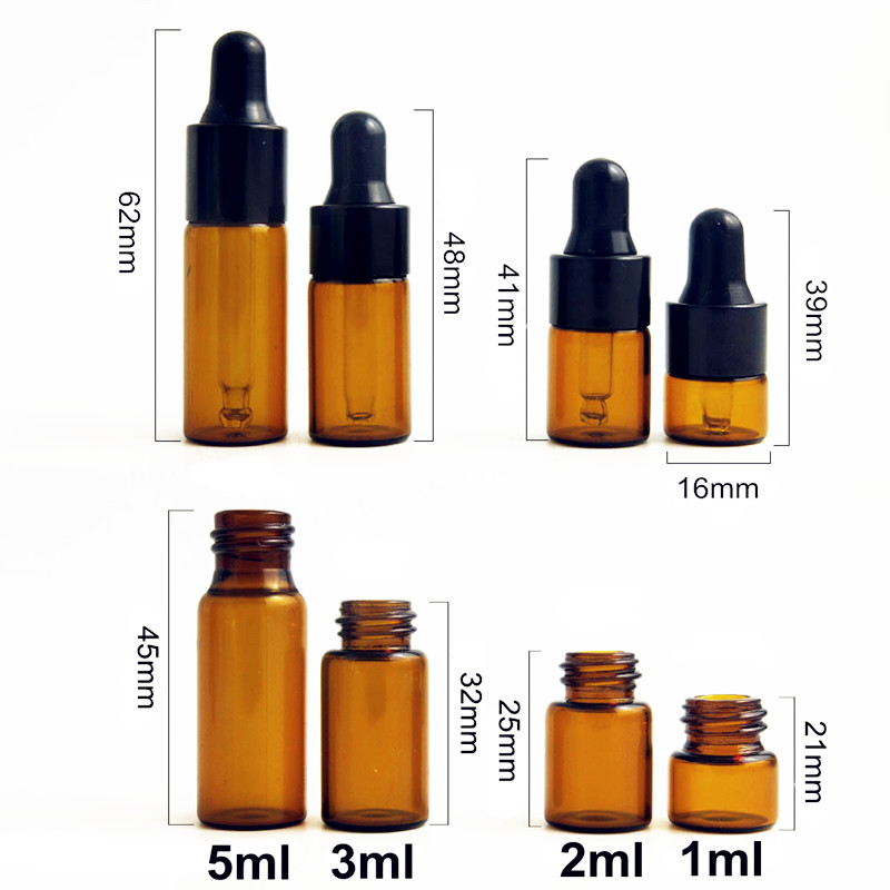 Image 5 - 5pcs/Pack 1ml 2ml 3ml 5ml Amber Glass Dropper Bottle Essential Oil Display Vials Small Serum Perfume Brown Sample Test Bottle-in Refillable Bottles from Beauty & Health