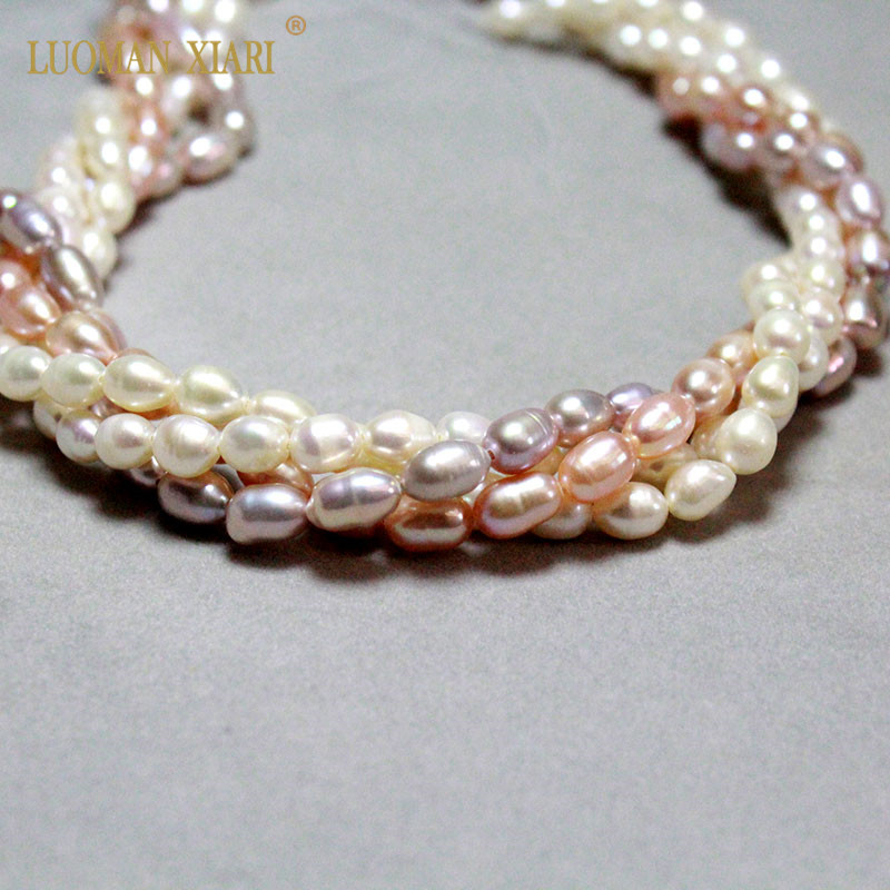 Wholesale AAA Natural Freshwater Pearl Rice Shape Purple & White Pearl Beads For Jewelry Making DIY Bracelet Necklace 5-6mm