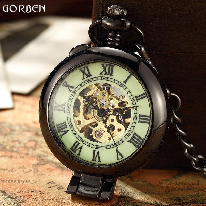 Уникальные ретро мужские механические карманные часы римские цифры стальные часы FOB карманные часы на цепочке Новое поступление часы для м
