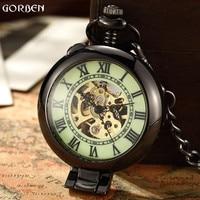 Unique Retro Men Mechanical Pocket Watch Roman Numeral Steel Watch FOB Chain Pocket Watch New Arrive Clock for Men Women Pendant