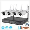 Wi-fi Set Câmera IP Kit NVR Plug Play P2P Câmera Wi-fi 4CH 1080 P NVR HD 720 P 20 m de Visão Noturna Câmera de Vigilância Ao Ar Livre sistema