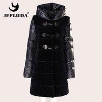 JEPLUDA Winter Women's Real Fur Coat Detachable Down Hood With Sleeves Natural Sheep Shearing Winter Jacket Women Real Fur Vest