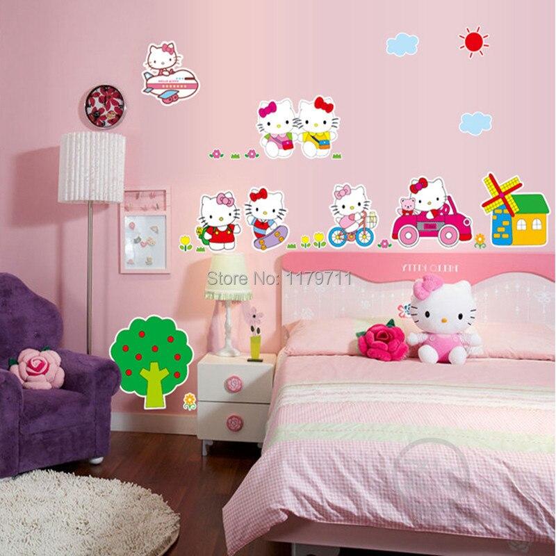 Hello Kitty Wall Sticker Home Decor Cartoon Wall Decal Diy For - Hello kitty wall stickers