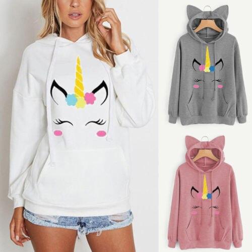 Unicorn Women Fleece Hooded Hoodie Sweatshirt Jumper Pullover Tops Coat UK Stock