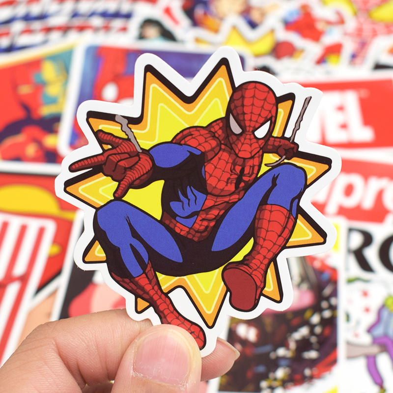 Image 3 - 50Pcs Superhero Computer Sticker Classic Anime Style Graffiti Stickers For Moto Car & Suitcase Cool Laptop Stickers Skin Decal-in Laptop Skins from Computer & Office