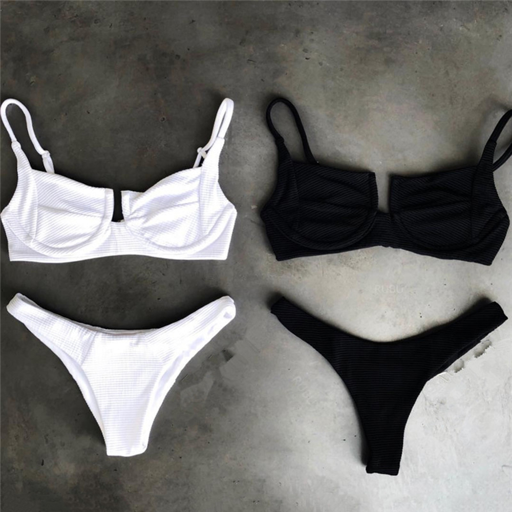 Sexy Push Up Underwire bikini 2018 two pieces swimsuit women swimwear White bikini set bathing suits swim wear Female biquini