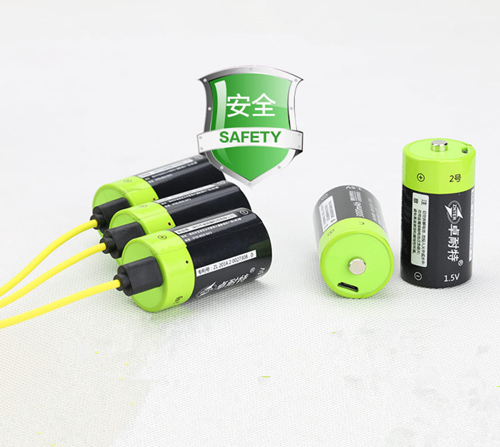 ZNTER 4pcs 1 5v Lithium li polymer 3000mAh C size rechargeable battery USB C type Li ion powerful battery USB charging cable in Rechargeable Batteries from Consumer Electronics