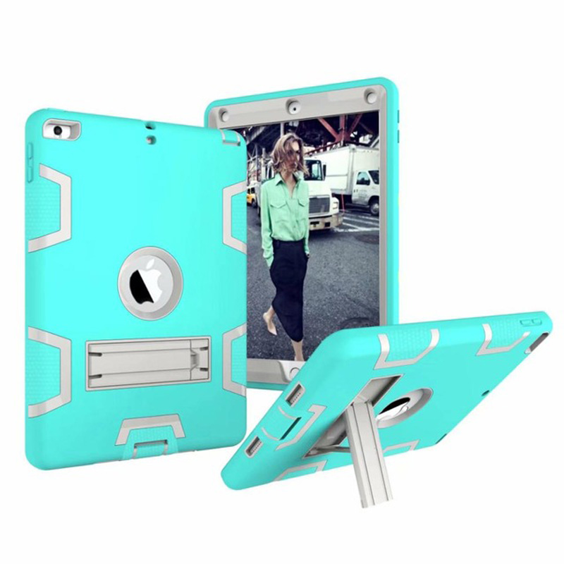 New Armor Case For IPad AIR 2 IPad 6 Kids Safe Heavy Duty Silicone Hard Cover For IPad Air 2 For Ipad 6 Tablet Case+Film+Pen