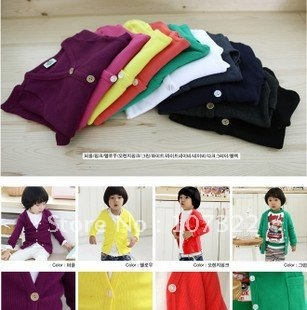 autumn new brand  children's long sleeve coat children wear pure color clothes cardigan childres's  T-shirt
