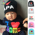 Fashion autumn baby hats knitted warm cotton toddler beanie baby girl boy I LOVE PAPA MAMA print kid cap for 1-3 years old