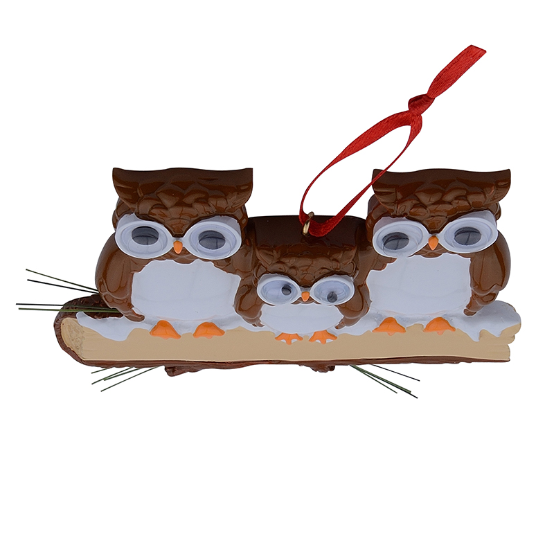Maxora Brown Yellow Owl Family Of 3 Resin Glossy Personalized Christmas Tree Ornaments PR279 5 in Pendant Drop Ornaments from Home Garden