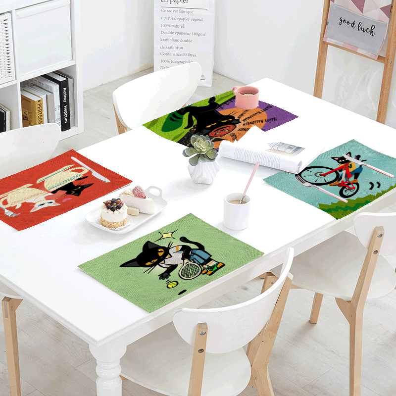 Naughty Cartoon Cat Print Tablecloth Napkin Bicycle Skateboard Electric Guitar Pattern Family Living Room Table Decor Tablecloth