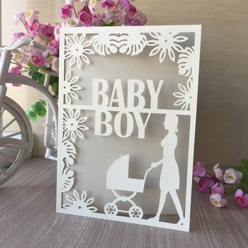 100pcs/lot New Arrival Pearl Paper Laser Cut Baby Carriage Design Baby Shower Invitations Birthday Party Favor Gender Reveal