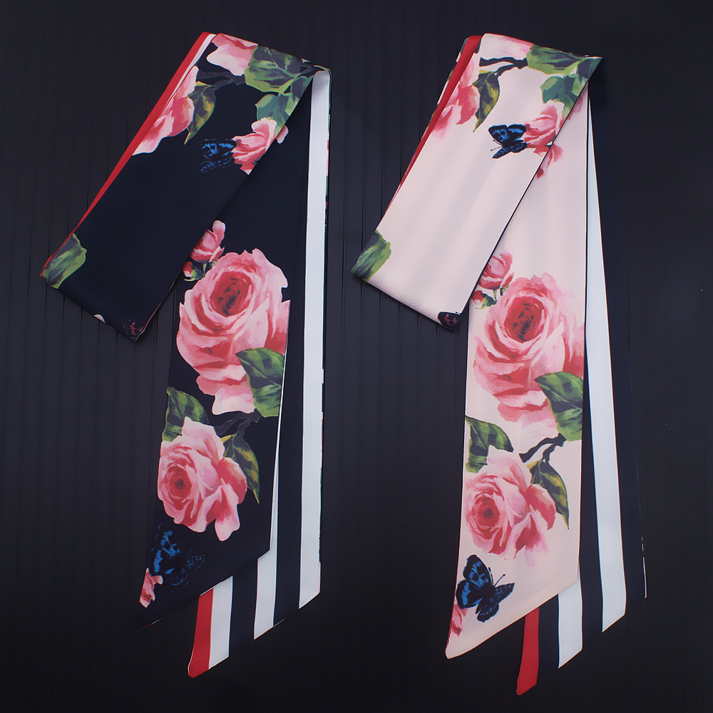 110*7cm 2018 New Design Skinny Women Tie Rose Flower Print Women Silk Scarf Fashion Belt Brand Handbag Small Long Scarves