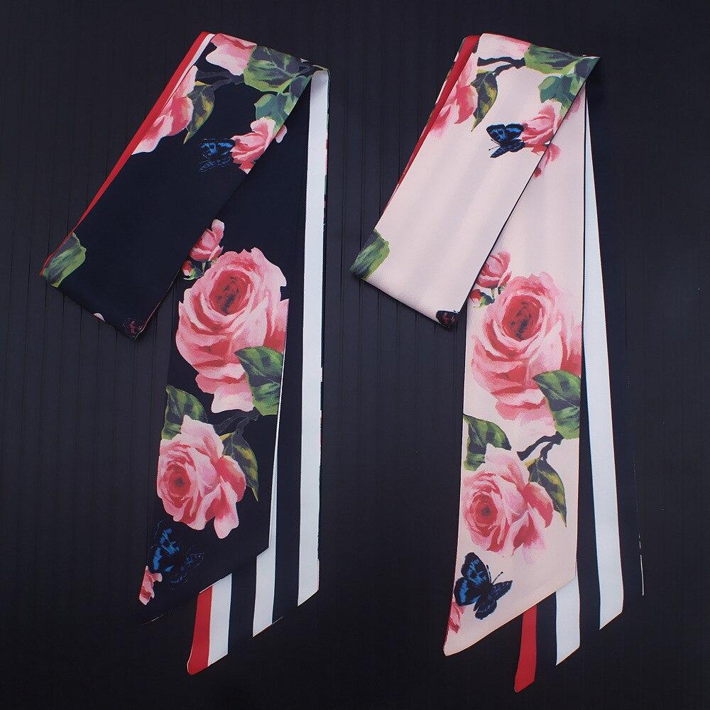 110*7cm 2018 New Design Skinny Women Tie Rose Flower Print Women Silk Scarf Fashion Belt Brand Handbag Small Long Scarves